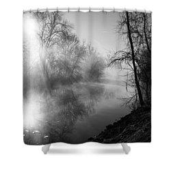 Foggy Misty Morning Sunrise On James River Shower Curtain