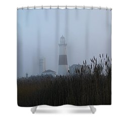 Foggy Montauk Lighthouse Shower Curtain by Karen Silvestri