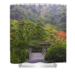 Foggy Morning In Japanese Garden Shower Curtain