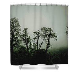 Foggy Mountain Morning At The Meadows Of Dan Shower Curtain by John Haldane