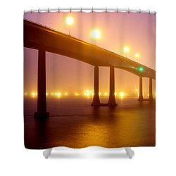 Foggy Navy Bridge Shower Curtain
