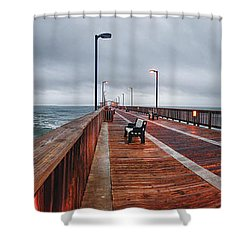 Foggy Pier  Shower Curtain by Michael Thomas