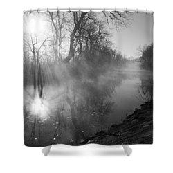 Foggy River Morning Sunrise Shower Curtain