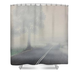 Foggy Road Shower Curtain by Tim Mullaney