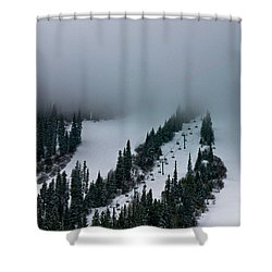 Foggy Ski Resort Shower Curtain