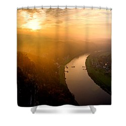 Foggy Sunrise At The Elbe Shower Curtain
