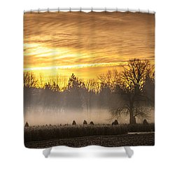 Foggy Sunrise Shower Curtain by Cassius Johnson