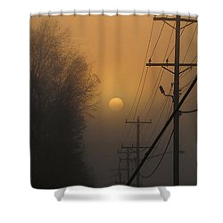 Foggy Sunrise Shower Curtain by Greg Simmons