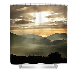 Foggy Sunrise Over Haleakala Crater On Maui Island In Hawaii Shower Curtain