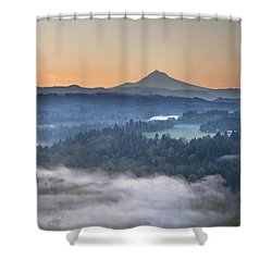 Shower Curtain featuring the photograph Foggy Sunrise Over Sandy River And Mount Hood by JPLDesigns