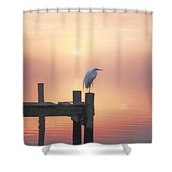 Foggy Sunset On Egret Shower Curtain by Benanne Stiens