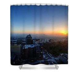 Foggy Sunset Shower Curtain by Ray Warren