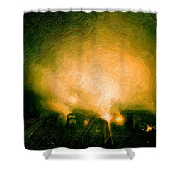 Foggy Switchyard Shower Curtain