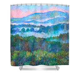 Foggy View From Mill Mountain Shower Curtain by Kendall Kessler