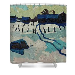 Foley Farm In Winter Shower Curtain by Phil Chadwick