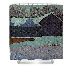 Foley Mountain Farm Shower Curtain by Phil Chadwick