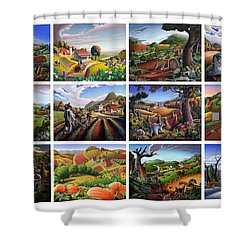 Folk Art Seasonal Seasons Sampler Greetings Rural Country Farm Collection Farms Landscape Scene Shower Curtain