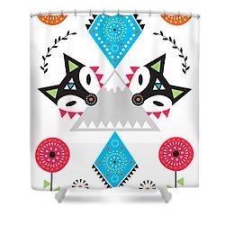 Folk Fox Shower Curtain by Susan Claire