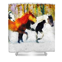 Shower Curtain featuring the painting Follow The Leader by Greg Collins