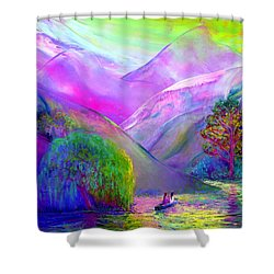 Shower Curtain featuring the painting  Love Is Following The Flow Together by Jane Small