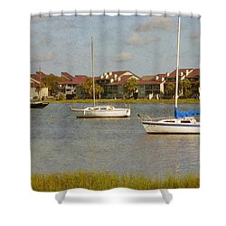 Folly Beach Boats Shower Curtain