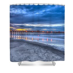 Folly Beach Fishing Pier Shower Curtain by Keith Allen
