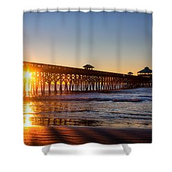 Shower Curtain featuring the photograph Folly Beach Pier At Sunrise by Lynne Jenkins