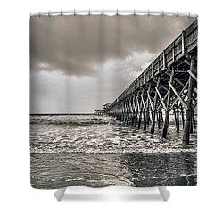 Shower Curtain featuring the photograph Folly Beach Pier by Sennie Pierson