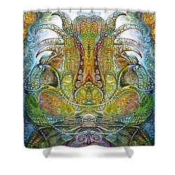 Shower Curtain featuring the digital art Fomorii Throne by Otto Rapp