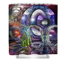 Shower Curtain featuring the digital art Fomorii Universe by Otto Rapp