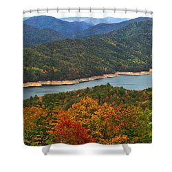 Fontana Lake In Fall Shower Curtain