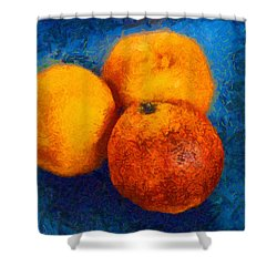 Food Still Life - Three Oranges On Blue - Digital Painting Shower Curtain