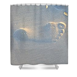 Shower Curtain featuring the photograph Foot Print In The Sand by Jocelyn Stephenson