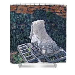 Shower Curtain featuring the painting Foot Statue-caesaria by Linda Feinberg