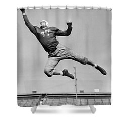 Football Player Catching Pass Shower Curtain by Underwood Archives