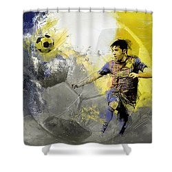 Football Player Shower Curtain by Catf
