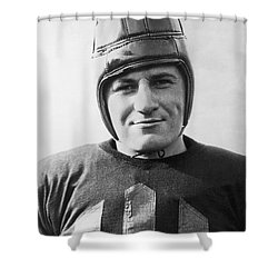 Football Player Portrait Shower Curtain by Underwood Archives