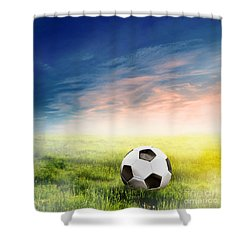Football Soccer Ball On Green Grass Shower Curtain
