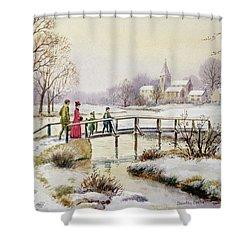 Footbridge In Winter Shower Curtain by Stanley Cooke