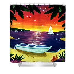 Shower Curtain featuring the painting Footprints In Paradise by Lance Headlee
