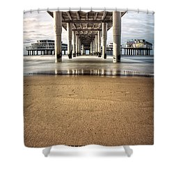 Footprints In The Sand Shower Curtain by Dave Bowman