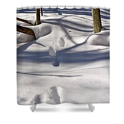 Footprints In The Snow Shower Curtain by Louise Heusinkveld