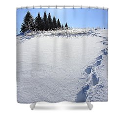 Footprints In The Snow Shower Curtain by Penny Meyers