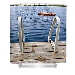 Footprints On Dock At Summer Lake Shower Curtain by Elena Elisseeva
