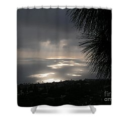 Footprints On The Ocean Shower Curtain by Bev Conover