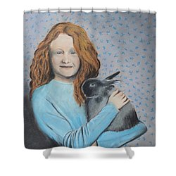 Shower Curtain featuring the painting For The Love Of Bunny by Jeanne Fischer