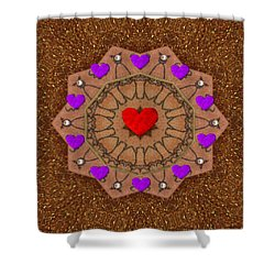 For The Love Of Hearts Shower Curtain by Pepita Selles