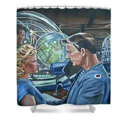 Shower Curtain featuring the painting Forbidden Planet by Bryan Bustard