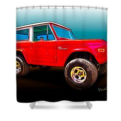 Ford Bronco Classic From Vivachas Hot Rod Art Shower Curtain