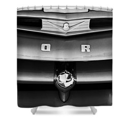 Ford F-1 Pickup Truck Grille Emblem Shower Curtain by Jill Reger